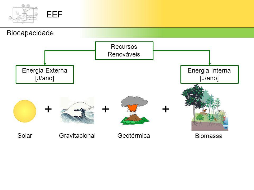 + + + EEF Biocapacidade Recursos Renováveis Energia Externa [J/ano]